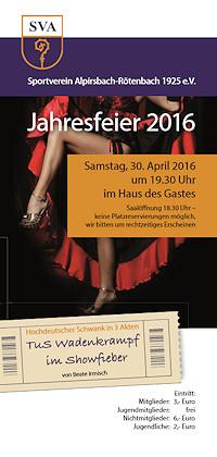 Flyer Jahresfeier 2016